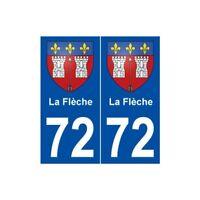 72 La Flèche blason autocollant plaque stickers ville
