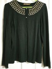 belldini L black rhinstone beads adorned neck button down front long sleeve...