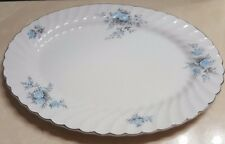 Johnson Bros England Snowhite Regency Oval Platter Serving Tray Blue Floral