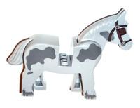 Lego Light Bluish Gray Horse 7189 with Dark Bluish Gray Spots Castle Minifigure