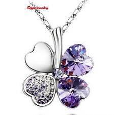 18k White Gold Plated Amethyst Four Leaf Clover Necklace N199