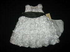 """NEW """"PURE WHITE ROSES"""" Dress Girls Baby Clothes 12m Spring Summer Boutique 2 pc"""