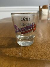 1995 WORLD CHAMPS MLB ATLANTA BRAVES SHOT GLASS IS IN GREAT CONDITION 2 1/4 INCH