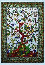 Indian White Tapestry Wall Hanging Hippie Home Decor Vintage Ethnic Art Tapestry