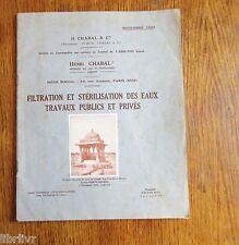 Urbanisme EAUX POTABLES FILTRATION ET STÉRILISATION 1923 Chabal Travaux publics