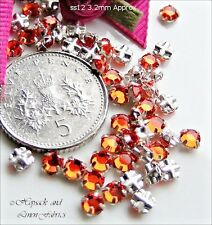 30 Swarovski ss12 Hyacinth Orange Vintage Rose Montees Sew On Crystals 12ss