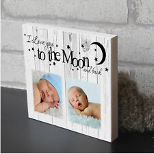 Large I LOve You To The Moon And Back Childrens Decor Wooden Photo Block