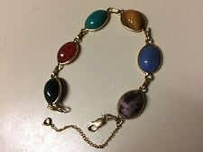 "14K Yellow Gold 8"" Muticolor Cabochon Scarab Bracelet with Safety"