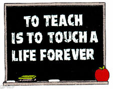 "6"" TEACHER CHALKBOARD SCHOOL APPLE  FABRIC APPLIQUE IRON ON"