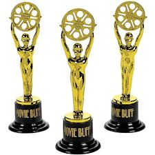 SMALL PLASTIC MOVIE BUFF OSCAR STATUETTES 12 HOLLYWOOD PARTY AWARDS NIGHT GIFT