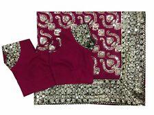 Om Vintage Indian Sari Georgette Hand Beaded Pink Saree,Blouse Y11782