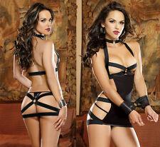 Sexy Lingerie Gothic Fetish Black Bondage Mini dress Night Dress 536