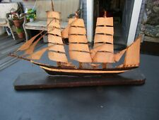 Antique Painted Metal & Wood Schooner/Sail Model Ship w/Triple Mast & Wood Base