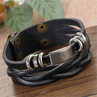 Vintage Men's Metal Steel Studded Surfer Leather Bangle Cuff Fashion Bracelet