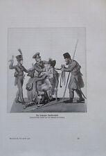 1913 DIE LEIPZIGER BARBIERSTUBE Satire antiker Druck old print Lithografie
