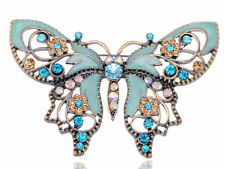 Fashion Antique Peach Rhinestones Vintage Butterfly Insect Wedding Brooch Pin US