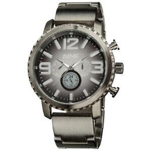 August Steiner AS8067BK Day Date GMT Gradient Dial Gunmetal Mens Watch