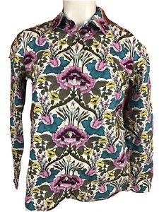 Talbots Womens Petite Button Floral Button Blouse Flip Cuffs -389
