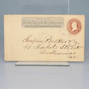 Antique 1886 WELLS FARGO San Francisco CA Envelope Postal Cover w/ 2c Washington