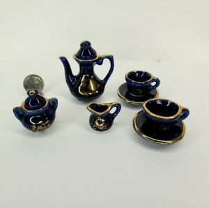 Dollhouse Miniature LIMOGES Cobalt Tea Set  Teapot Plate 1:6 Barbie/Fashion Doll