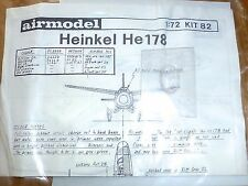 HENKEL HE 178 airmodell 1:72 Avion Kit 82 Kit ungebaut å *