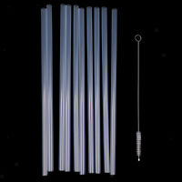 10x Reusable Clear Hard Plastic Straws+1x Cleaning Brush Wedding Party Decor