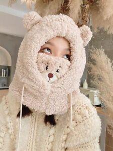 Kawaii fluffy cosy teddy bear ears costume snood face coverings funky cute gift