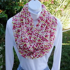 Pink, White, Red, Green Crochet SUMMER INFINITY LOOP SCARF Light Handmade Knit
