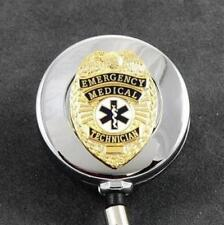 EMT Emergency Medical Technician Rescue Retractable Badge Reel Chrome ID Holder