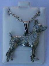 Rat Terrier Dog Harris Fine Pewter Pendant w Chain Necklace Usa Made
