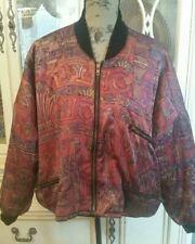 Vtg FoxRun Boho Tribal Aztec Sz L Cropped Zip Bomber Jacket