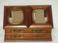 Jewelry Box Etched Rose Commodore Collection Rosalco Wood Glass Vintage