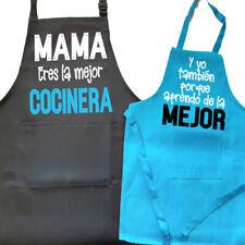 Pack de 2 Piezas Delantal para Madres e hijos, Día de la madre NEGRO/AZUL