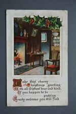R&L Postcard: Greetings, Christmas BB Birn Bros, Open Fireplace, Cosy Cottage