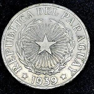 Paraguay - 1939  5 Pesos - Cupper/ Nickel- Rare Coin KM# 18