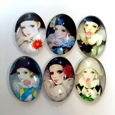 6 pcs - Glass cabochon 18x13 mm with harlequin