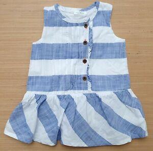 NEXT Baby Girls White Sky Blue Sleeveless Summer Dress Cotton 3-6 Months
