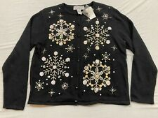 M163 New Heirloom Collections Black Snow Flake Sweater Shirt Top Women'S L