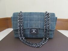 Authentic Chanel  Blue Square Quilted Distressed Denim and Leather  Flap Bag