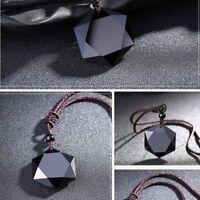 segen schwarz männer glück halskette obsidian anhänger amulet hexagramm form