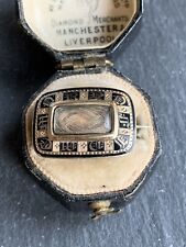 Mourning Brooch With Locket Front. Georgian Yellow Gold Black Enamel
