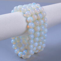 8MM Natural Opal Moonstone Round Beads Charm Women Stretch Bangle Bracelet Gift