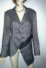 NICOLA WAITE Size 2 (12) Charcoal Jacket Australian Designer Linen RRP $549