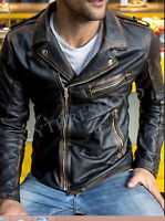 Mens Black Biker Vintage Distressed Motorcycle Cafe Racer Real Leather Jacket