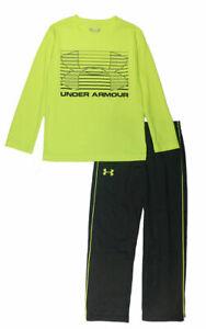 Under Armour Boys Hi Vision Yellow Logo Top 2pc Track Pant Set Size 5