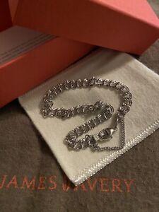 James Avery NIB Sterling Silver Light Double Curb Charm Bracelet Size Large
