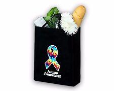Autism Awareness Ribbon Reusable Grocery Tote Bag (wholesale-25 bags)