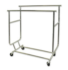 Salesman Clothing Garment Rolling Collapsible Rack Hanger Double Rail Heavy Duty