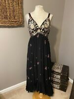 Anthropologie Ranna Gill Black Embroidered Midi Dress Medium