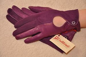 Classic Women English nappa Leather & suede backless hole Gloves